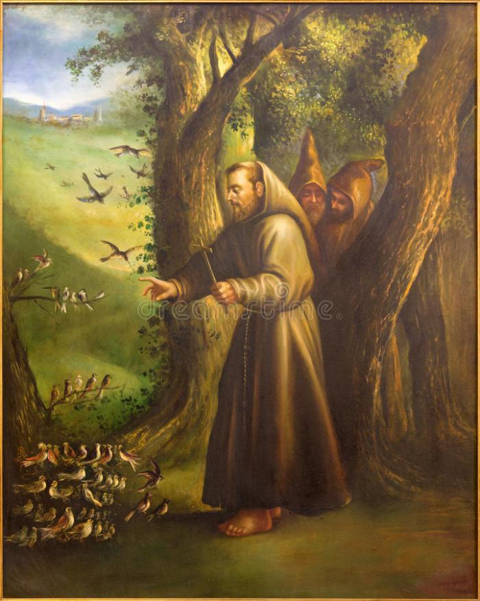 cordova-la-pittura-moderna-dello-st-francis-di-assisi-che-predica-agli-uccelli-da-centesimo-chiesa-convento-de-capuchinos-56834572